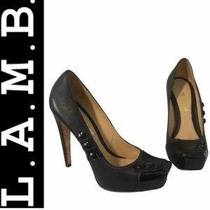L.A.M.B. Square Toe Leather Pumps